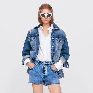 NWT Zara Frayed Denim Shorts